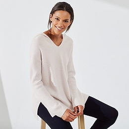 Cashmere Rib Hooded Sweater