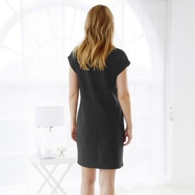 Ponte V Neck Dress  - Dark Charcoal Marl