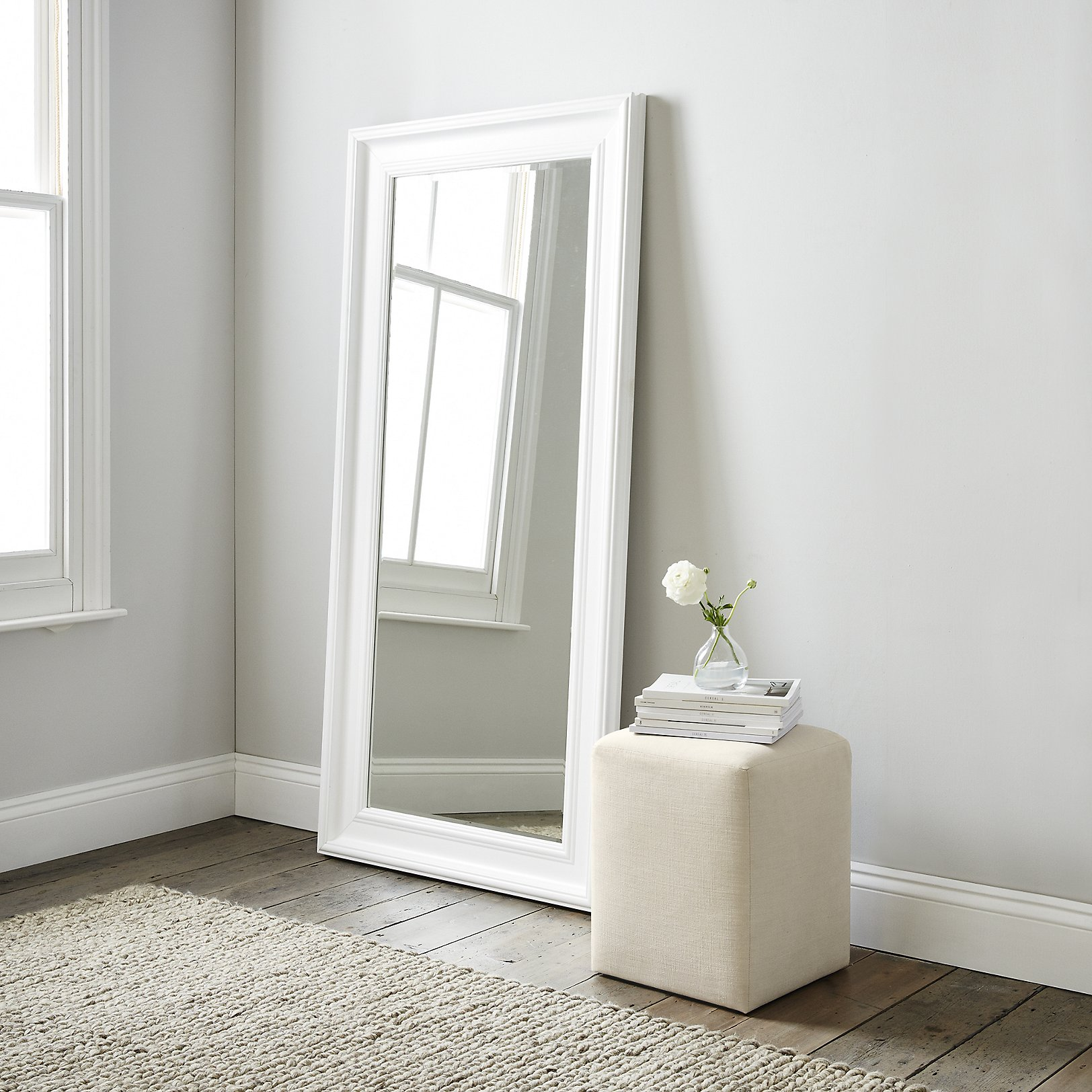 mirrors  wall floor dressing table  full length  the white  - portland floor mirror  white