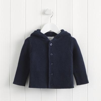 Purl Knit Pompom Jacket - Navy