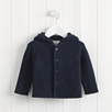 Purl Knit Pompom Jacket - Navy
