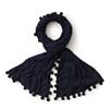 Pom Pom Knitted Scarf - Navy