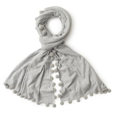 Pom Pom Knitted Scarf - SilverGrayMarl