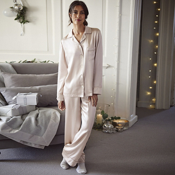 Silk Piped Pyjama Set - Soft Rose