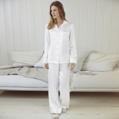 Piped Silk Pajama Set  - Porcelain
