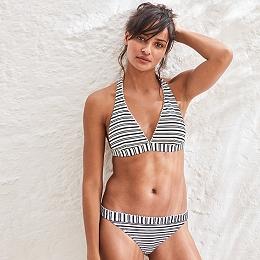 Pom-Pom Stripe Bikini Bottom