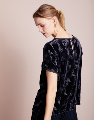 Printed Velvet T-Shirt with Silk