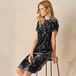 Printed Velvet T-Shirt Dress with Silk
