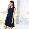 Pocket Sleeveless Linen Dress - Navy