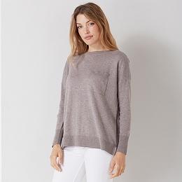 Single Pocket Slash Neck Sweater - Nutmeg