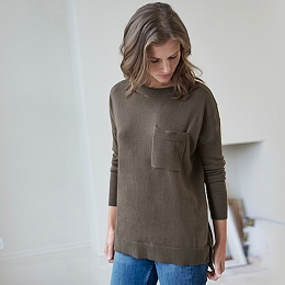 Single Pocket Slash Neck Sweater - Khaki