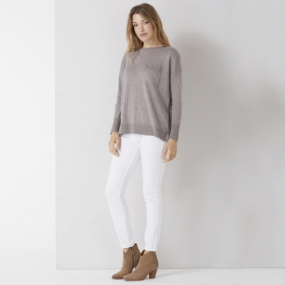 Single Pocket Slash Neck Sweater - Nutmeg