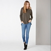Single Pocket Slash Neck Sweater - Khaki