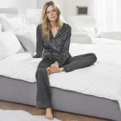 Silk Piped Pajama Set  - Eclipse