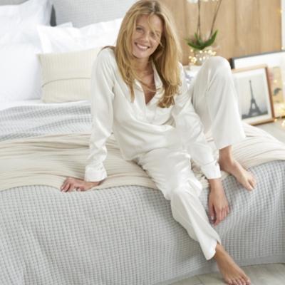 Silk Piped Pajama Set  - Porcelain