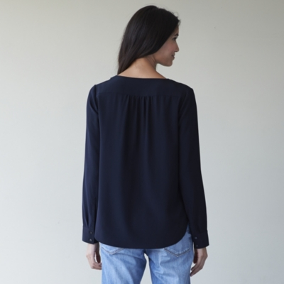 Pretty Silk Blouse - Navy