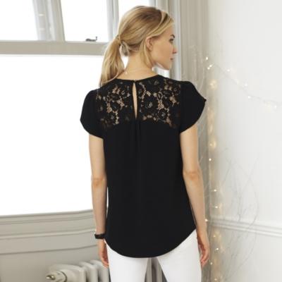 Petal Sleeve Lace Detail Top - Black