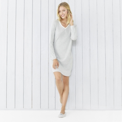 Pointelle Nightdress - Cloud Marl