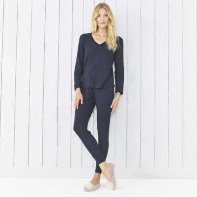 Pointelle Top - French Navy
