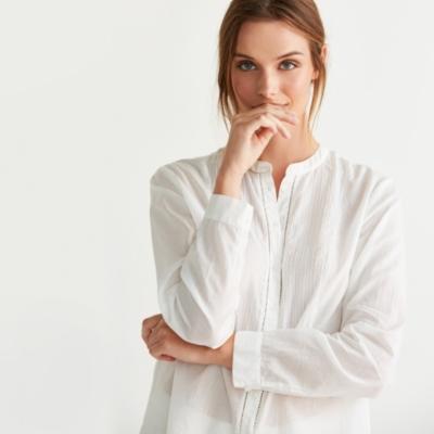 Cotton Pintuck Voile Shirt