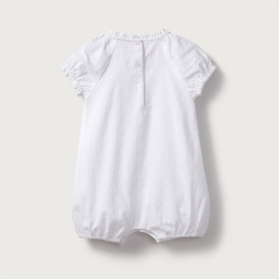 Cotton Dobby Pintuck Shortie Romper