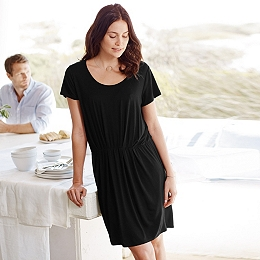 Pleat Waist Jersey Dress