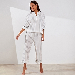 Cotton Piped Wide Sleeve Pajama Set
