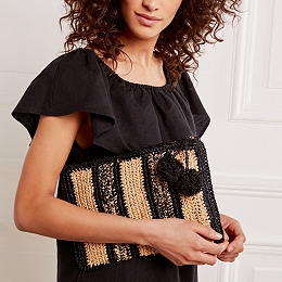 Raffia Stripe Clutch Bag
