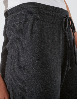 Cotton-Cashmere Ribbed Joggers