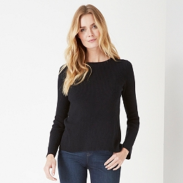 Ribbed Back Over Lap Sweater - Black
