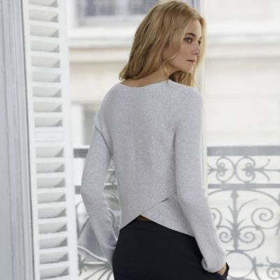 Ribbed Overlap Back Sweater - Pale Gray Marl