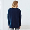 Ribbed Stepped Hem Sweater - French Navy Marl