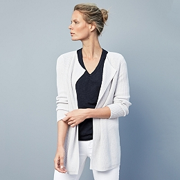 Ribbed Collarless Cardigan