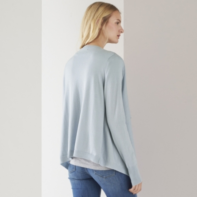 Rib Detail Waterfall Cardigan - Misty Blue