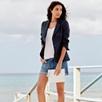 Relaxed Linen Blazer - Navy