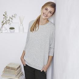 Rectangular Rib Sweater - Pale Gray Marl