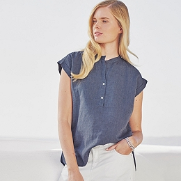 Relaxed Stripe Linen Blouse - Navy