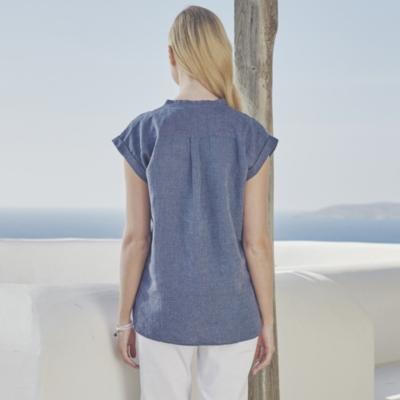 Relaxed Stripe Linen Blouse - Navy