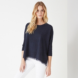 Rectangular Fringe Hem Sweater
