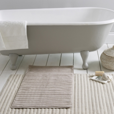 Rib Hydrocotton Bath Mats - Pebble
