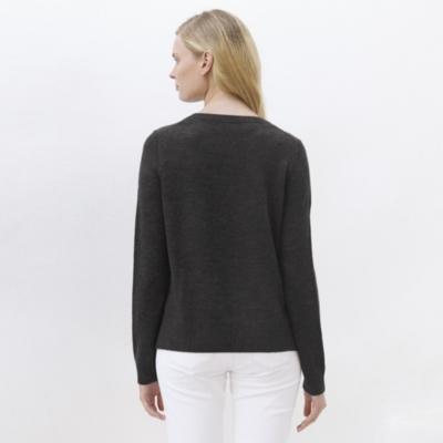 Rib Detail Crew Neck Sweater - Dark Charcoal Marl