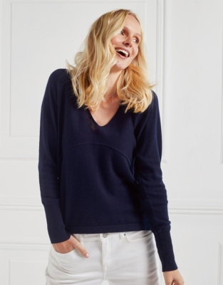 Ribbed Cuff Batwing Sweater - Navy