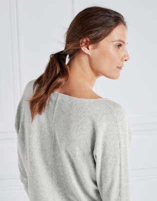 Ribbed Cuff Batwing Sweater - Pale Gray Marl