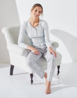 Sleep Rib Henley Pajama Top - Pale Gray Marl