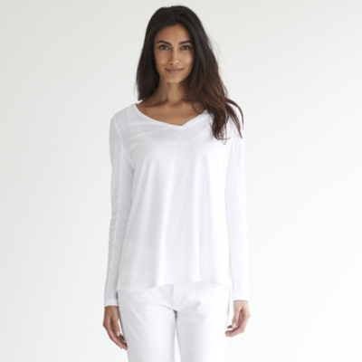 Rib Sleeve V-Neck T-shirt - White
