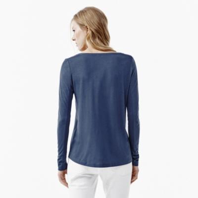 Rib Sleeve V-Neck T-shirt - Admiral