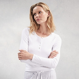Sleep Ribbed Henley Top - White