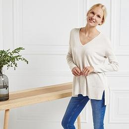 Rib Sleeve V-Neck Sweater - Cloud Marl