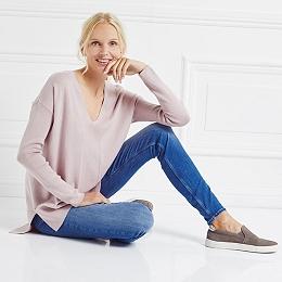 Rib Sleeve V-Neck Sweater - Pink