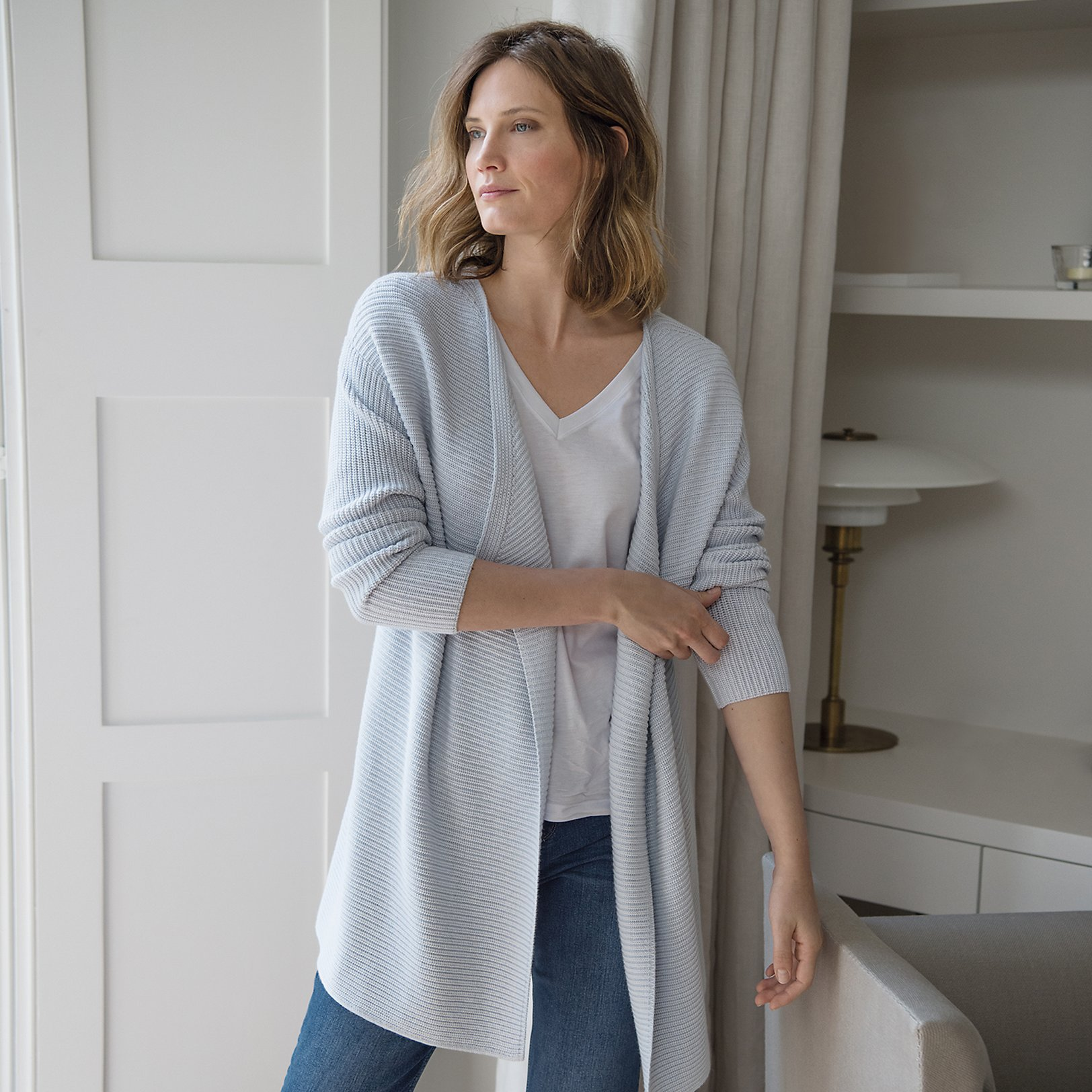 Ribbed Waterfall Long Cardigan | Cardigans | The White Company UK